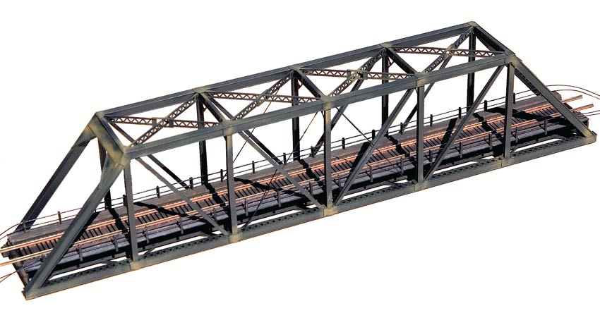 Central Valley #1820 N scale truss bridge kit assembled with walkways painted and weathered.